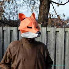paper halloween mask fox mask papercraft diy animal awesome paper party mask you