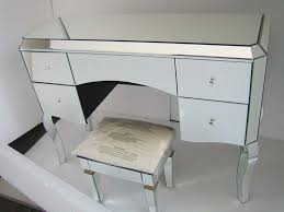 mirrored makeup vanity table glass vanity table home design throughout desk decor 13