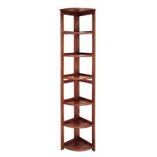 Corner Bookcase Cherry 6 Shelf Flip Flop Folding Corner Bookcase Cherry Regency Target