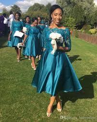 2017 teal dark navy blue tea length nigerian country bridesmaid