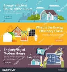 Energy Efficient House Energy Saving House Horizontal Banner Set Stock Vector 268937840