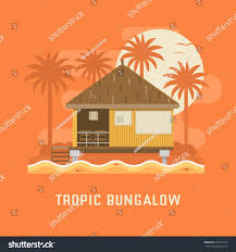 summer beach house by sunset wooden stock vector 450771634