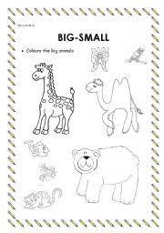worksheet adjetives big small