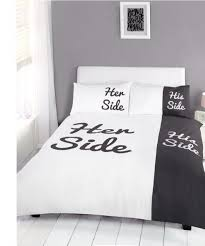 his and hers bed set side bedding set duvet cover pillow cases black