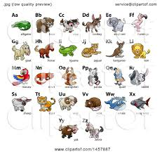 clipart of a chart of alphabet letters with animals royalty free