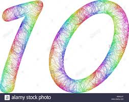 10 years anniversary rainbow sketch font design from colorful