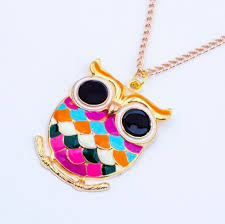 vintage owl necklace jewelry images Retro owl necklace multi colored design artly vintage jpg