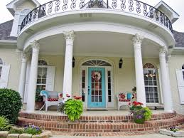 Front Porch Gorgeous Home Exterior Design With Round White Columns