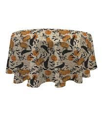 halloween lace tablecloth maker u0027s halloween round tablecloth 60 u0027 u0027x60 u0027 u0027 crow u0026 pumpkin joann