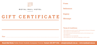 hotel gift certificates 100 gift certificate royal mail hotel