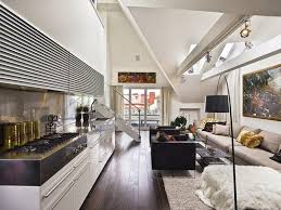modern small loft interior design with nice open dining room and