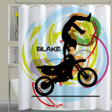 motocross dirt bike dirt bike shower curtain in white