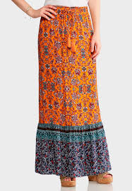 maxi skirt orange and navy floral maxi skirt skirts cato fashions