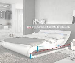 Schlafzimmer Bett Mit Led Bett Belana Weiss Schwarz 180x200 Cm Mit Led Kopfteil Polsterbett