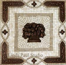 Fruit Basket Metal And Mosaic Tile Medallion Kitchen Backsplash - Kitchen medallion backsplash