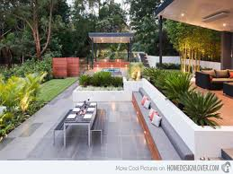 incredible modern backyard idea with wood burning fireplace and