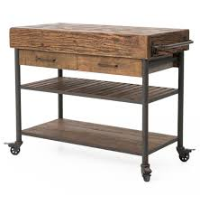 rustic kitchen islands and carts kershaw rustic chunky reclaimed wood iron drawer kitchen