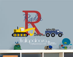 construction name initial wall decal wallapalooza decals construction name initial wall decal
