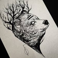 i like the trees branches coming off the bear u0027s head and the