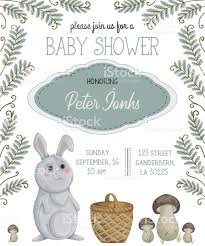 rabbit invitation baby shower invitation with rabbit basket mushrooms flowers leaves