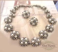 pearl necklace wedding set images Vintage inspired pearl backdrop wedding bridal jewelry set glam jpeg