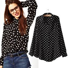 black polka dot blouse 2013 s fashion blouse black sleeve polka dot shirt
