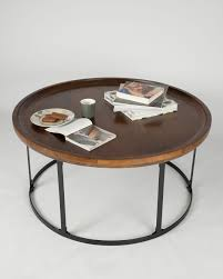 round wood and metal side table clock coffee table 30 round coffee table wood 36 cream colored mid
