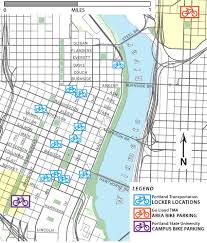 Portland Public Transportation Map by Bicycle Lockers Bicycle Parking The City Of Portland Oregon