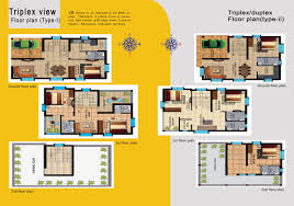 100 triplex plans latest house plans and elevations ghar