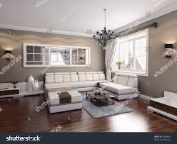 livingroom modern interior 3d rendering stock illustration