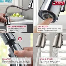 delta kitchen faucet with magnatite docking single handle sprayer