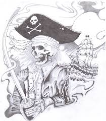 drawn sleleton skeleton pirate pencil and in color drawn