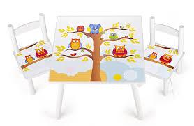 tavolo sedia bimbi set da cameretta per bambini tavolo e 2 sedie in legno motivo gufi