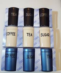 tea coffee sugar canisters plastic jars storage pots caravan