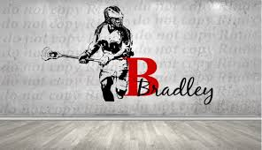 lacrosse decals lax wall decal custom first name decor lacrosse decals lax wall decal custom first name decor art vinyl sticker player personalized kids boy bedroom