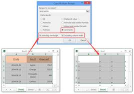 how to copy and paste cell sizes column widths and row heights