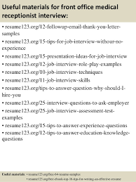 Receptionist Resumes Samples by Top 8 Front Office Medical Receptionist Resume Samples