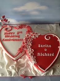 1st wedding anniversary double hearts cake i did this over u2026 flickr