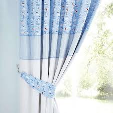 Childrens Nursery Curtains by Kids Blue Nautical Nursery Blackout Pencil Pleat Curtains Dunelm