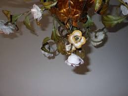 italian porcelain roses italian tole porcelain roses and flowers chandelier at 1stdibs
