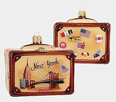 new york vintage style travel suitcase glass