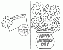 card with flowers for mothers day coloring page kids within mother