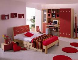 elegant red wall fun paint ideas for bedroom with warm hang lamp