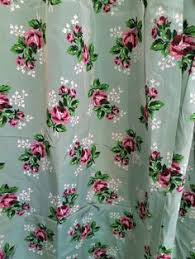 Vintage Green Curtains Banana Leaf Curtains Vintage 1940s Barkcloth Curtain Panel With