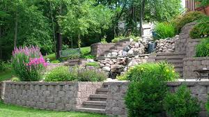 backyard design stone retaining wall desert landscaping