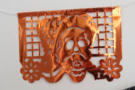 papel picado banner plastic metalic day of the dead halloween