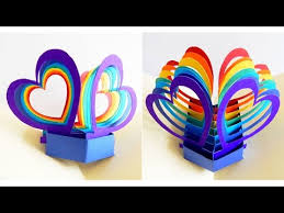How To Make Easy Paper Flowers For Cards - pop up card twin hearts learn how to make a popup heart
