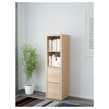Narrow Oak Bookcase by Kallax Shelving Unit With 2 Inserts White Stained Oak Effect