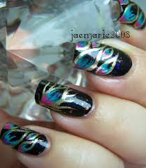 phoenix feathers nail design using finger paints special effects