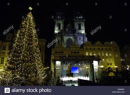 christmas tree lights night dark black darkness horizontal praha